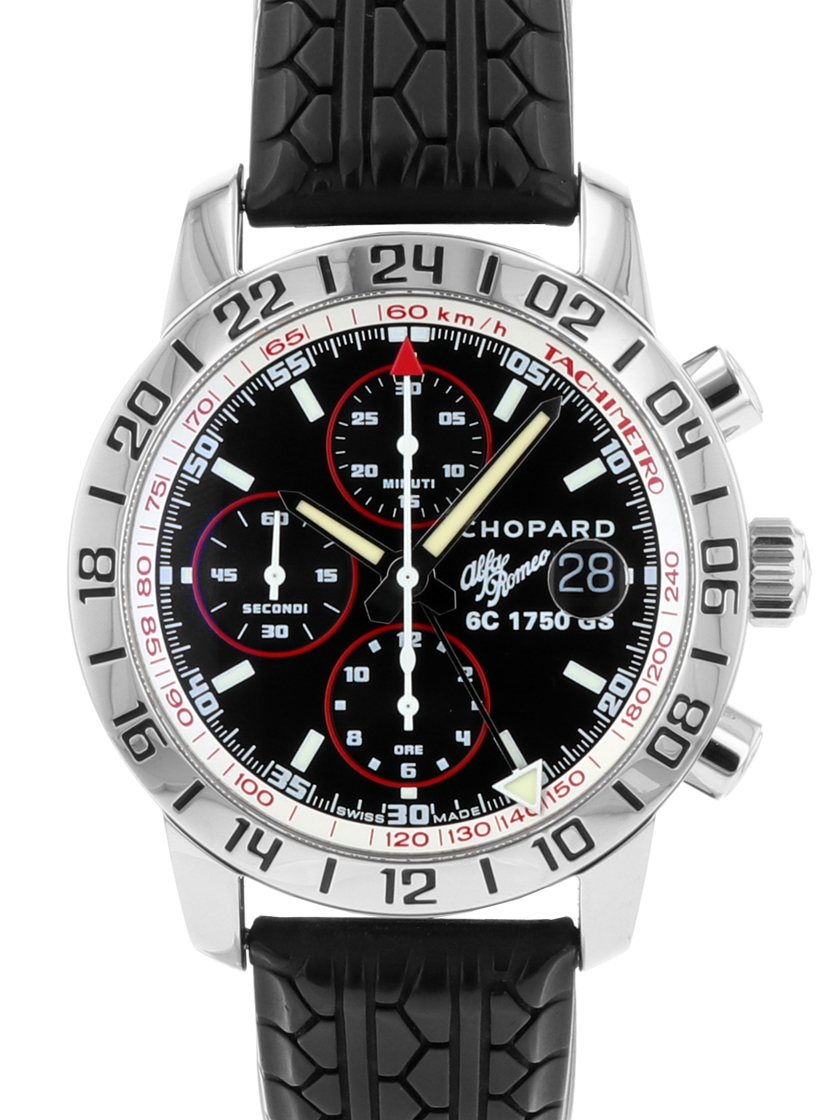 【中古】ショパール 16/8954 ミッレミリア GMT クロノグラフ アルファロメオ 75周年記念モデルSS/ラバー 自動巻き ブラックダイアル 《750本限定モデル!》