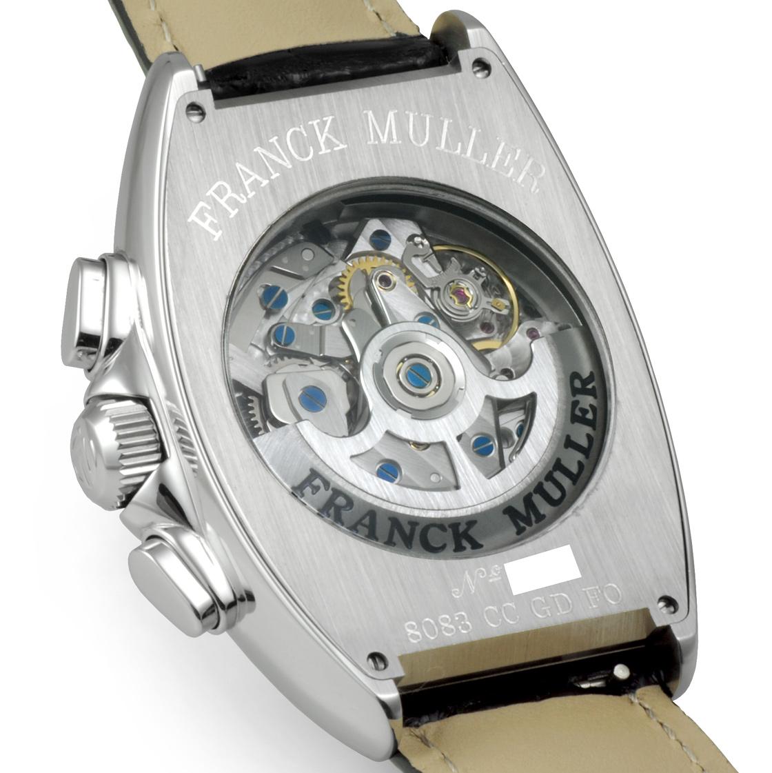 Franck Muller 8083 CCGDFO 男高音 curvex 計時格蘭德日期 SS / 皮革自動纏繞骨架的黑色錶盤