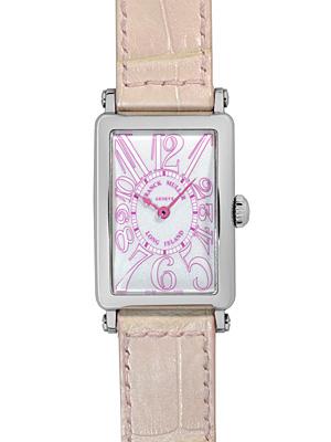 "Franck Muller 902 QZJA 長島""momo2""(桃瀨) SS / 粉紅色皮革白色錶盤女士石英表,罕見的模型日本有限 500 件! 》"