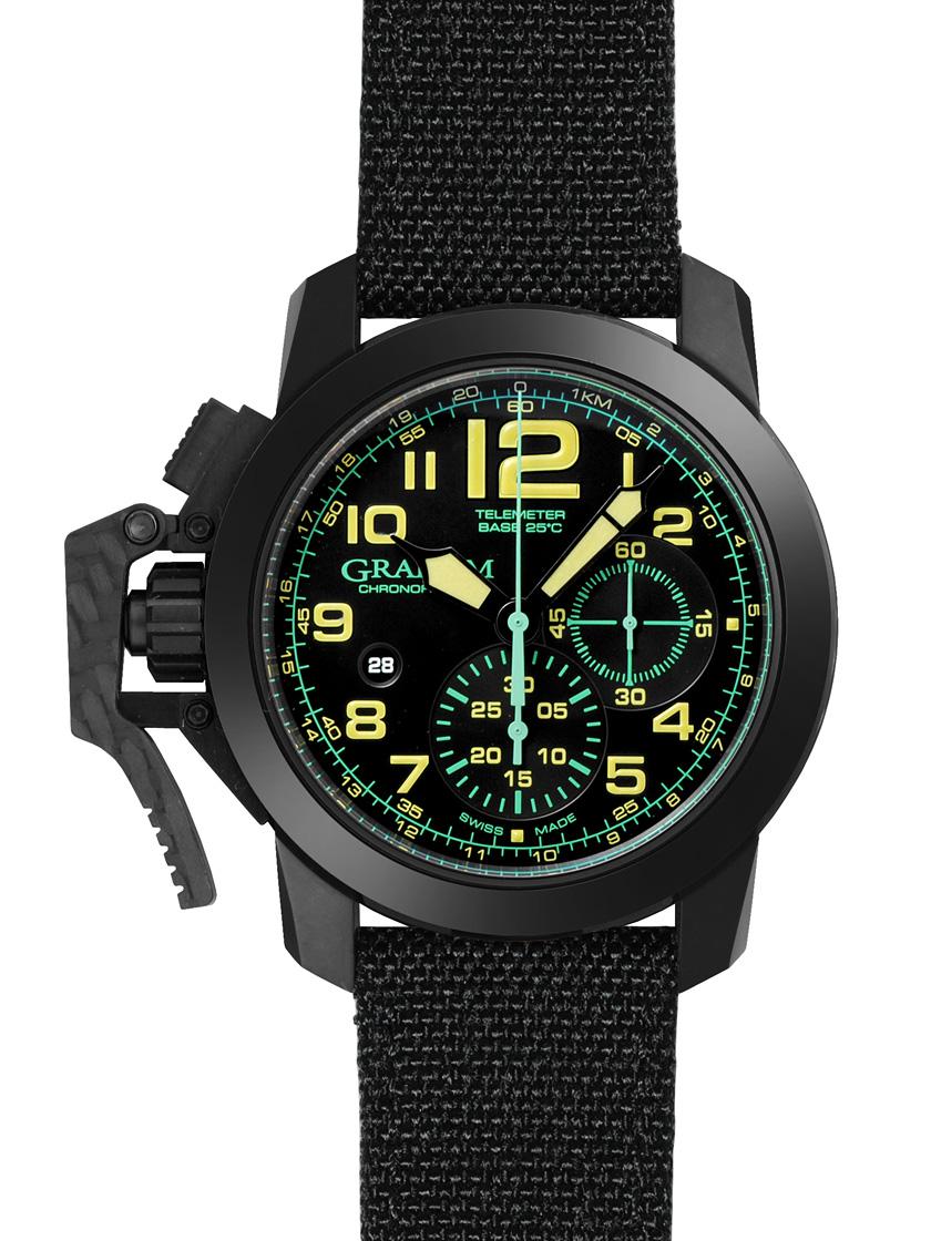 葛蘭哈姆2CCAU.B09A.T12N kuronofaitaobasaizu SS(PVD)&陶瓷器黑色纖維吊帶黑色計時儀自動卷透明背