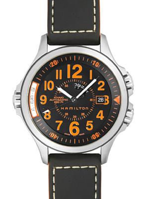 【新品】ハミルトン H77695733 カーキ ネイビー エアーレース GMT SS/レザー 自動巻き ブラック:ブランドウォッチ ジュビリー