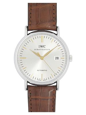 IWC人IW356303 potofinootomatikku SS/棕色皮革銀子自動卷