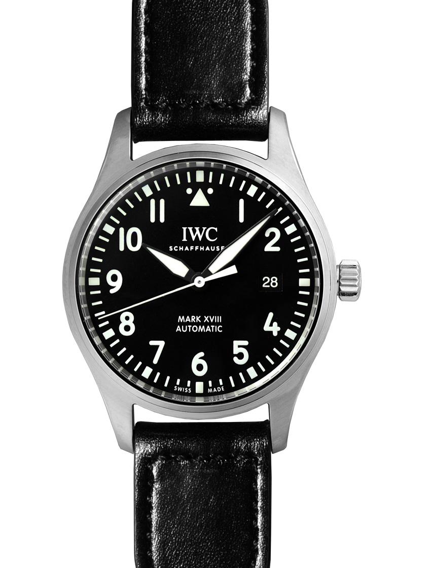 【新品】IWC IW327001 パイロットウォッチ マーク18 (MarkXVIII:マークXVIII) SS/ブラックサントーニレザー 自動巻き ブラック