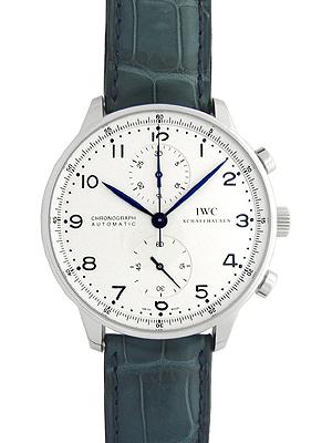 【新品】IWC メンズ IW371446 ポルトギーゼ クロノグラフ SS/ブルーレザー シルバー 青色針&インデックス 自動巻き フォールディングバック 《マイナーチェンジモデル》