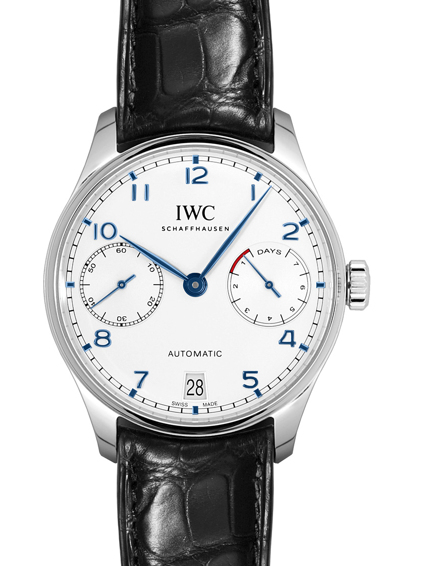 【新品】IWC メンズ IW500705 ポルトギーゼ 7デイズ パワーリザーブ シルバー ブルー針 SS/ブラックレザー 自動巻き シースルーバック