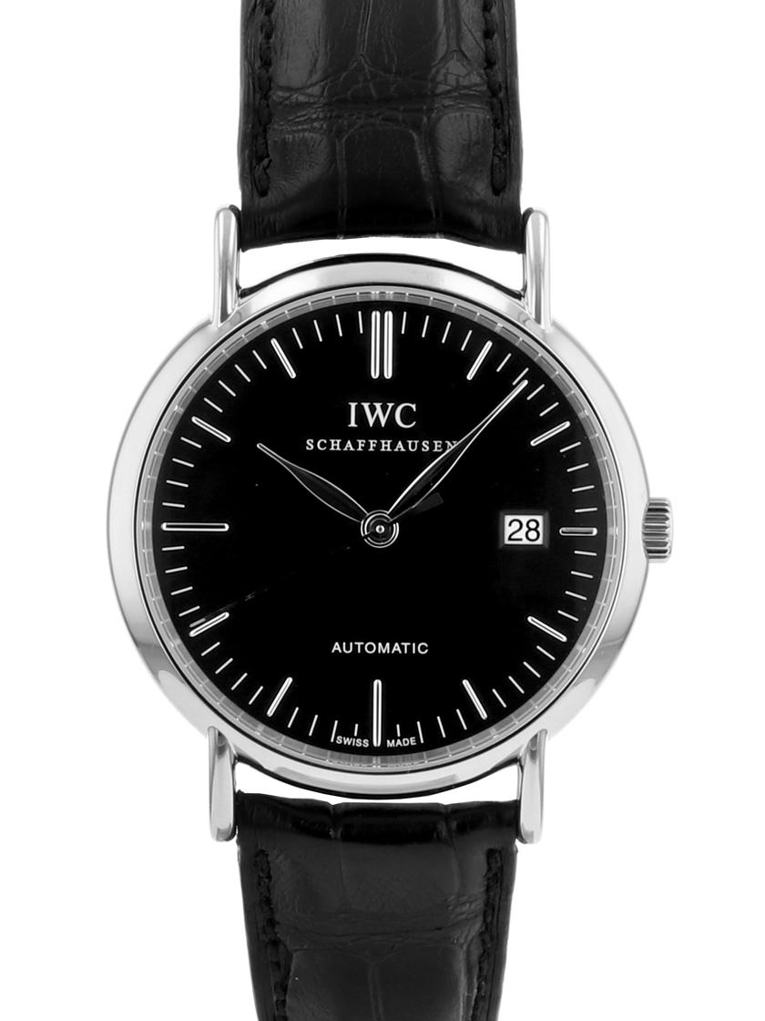 【中古】IWC ポートフィノ オートマティック SS/ブラックレザー ブラック文字盤 メンズ 自動巻き Ref.IW356305 (3563-05) 《オーバーホール済み!》