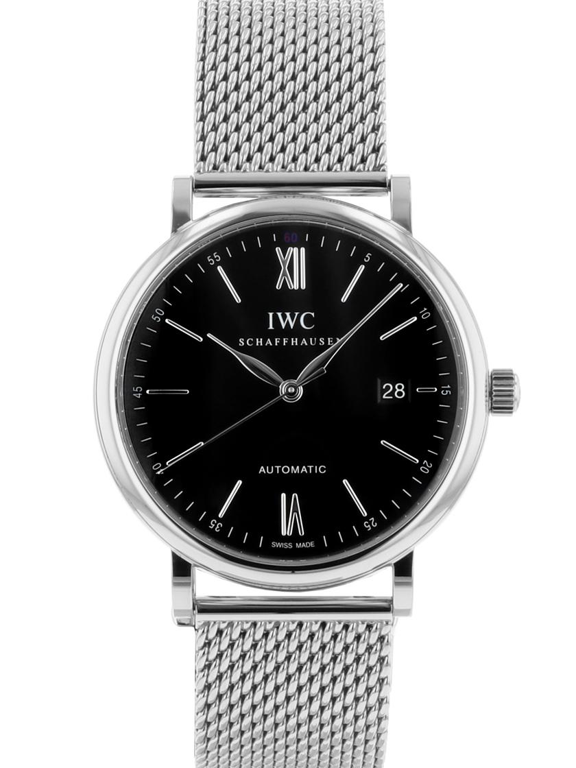 【中古】IWC Ref.IW356506 ポートフィノ オートマティック ブラック文字盤 自動巻き SS メンズ 《人気モデル》