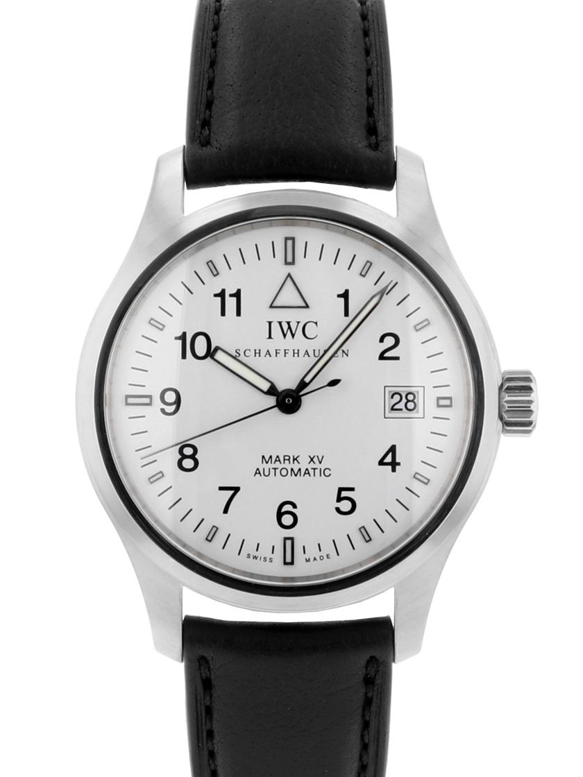 【中古】IWC IW325309 パイロットウォッチ マークXV SS/ブラックレザー ホワイト文字盤 自動巻き