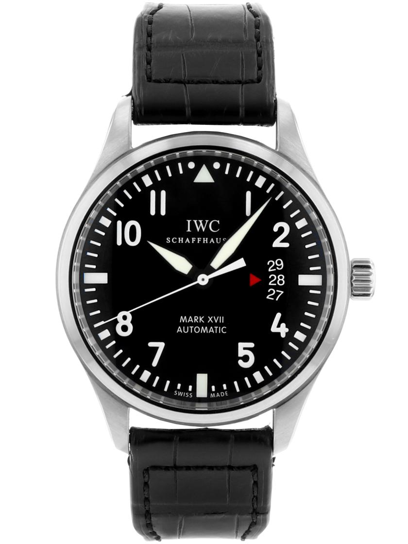 【中古】IWC IW326501 メンズ パイロットウォッチ マーク17自動巻き ブラック SS/レザー