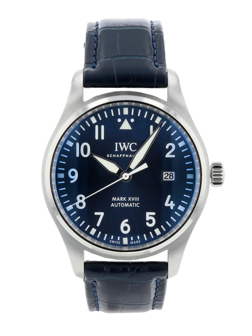 【中古】IWC IW327004 パイロットウォッチ マーク18 プティ・プランス SS/社外レザー ブルー文字盤 自動巻き