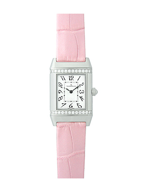 410aa9a2b2131 Jaeger-LeCoultre Reverso Lady diamonds SS   pink leather quartz Silver  Dial