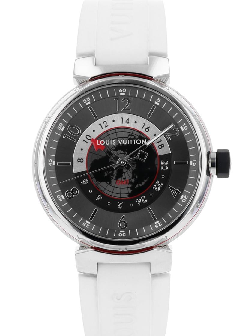 【中古】ルイヴィトン Q1D30 タンブール グラフィット GMT SS/ホワイトラバー グレー文字盤 メンズ 自動巻き 《オーバーホール済み!》