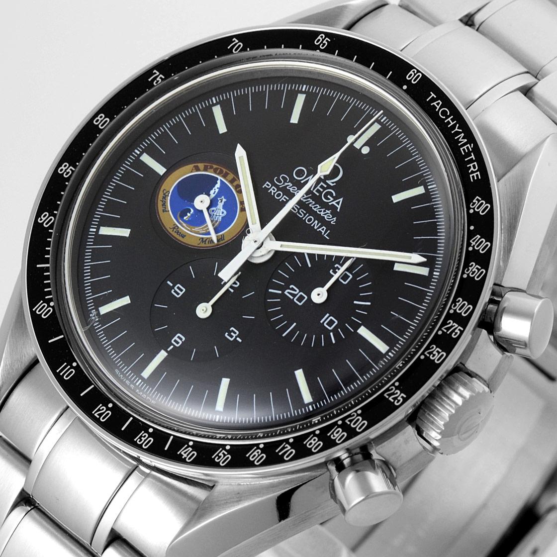 """奥米伽3597.17速度主人專業人員任務""""APOLLO-14""""(阿波羅14號)世界40條限定黑色表盤計時儀手卷mubu SS序列No.刻圖章《速度主人誕生40周年紀念型號!》"""