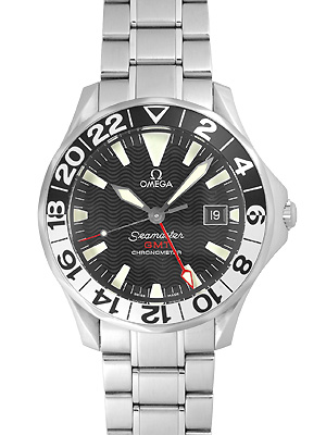 奥米伽海主人GMT 300m Ref: 2536.50 SS自動卷黑色人杰裏洛佩茨日本國裏面的999條限定型號《專業潛水員表》