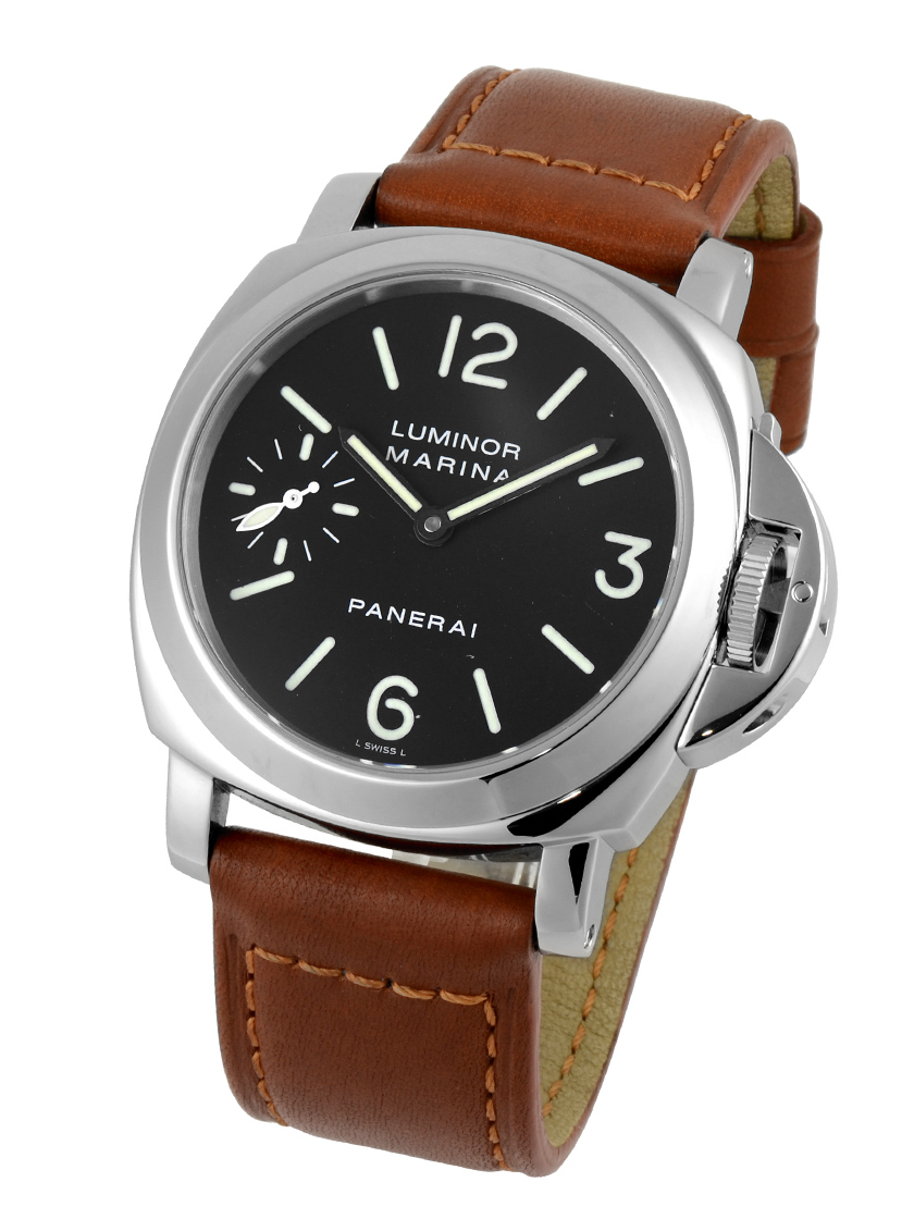online store 88953 fbc41 Panerai PAM00111 men's luminor Marina left 44mm手 winding black letter  Edition SS / brown leather E-s has new finishes! 》