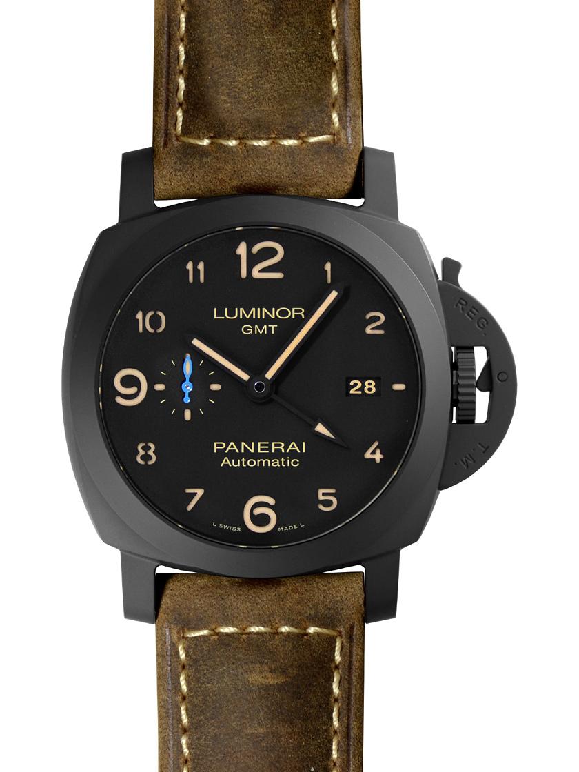 【新品】パネライ PAM01441 ルミノール1950 3デイズ GMT オートマティック セラミカ ブラックセラミック/レザー 44mm ブラック 自動巻き
