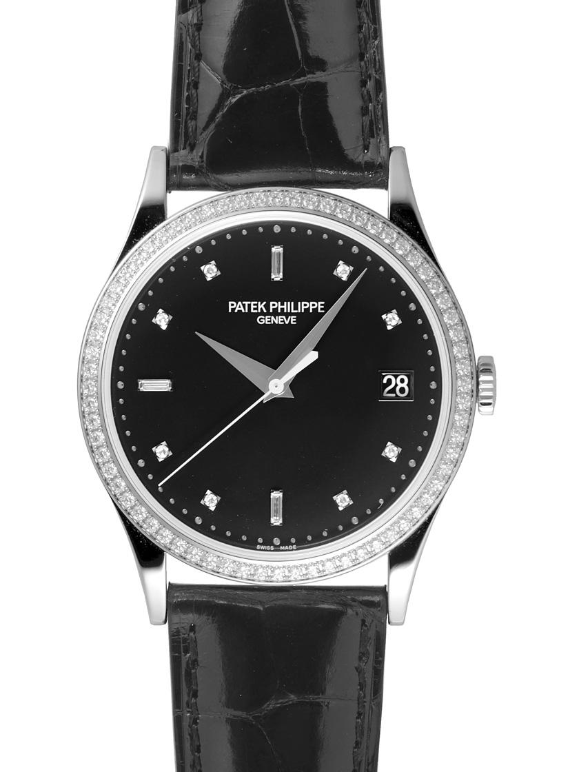2627dca1f51 Patek Philippe 5297G-001 Calatrava K18WG pure gold and leather a bezel  diamond black automatic