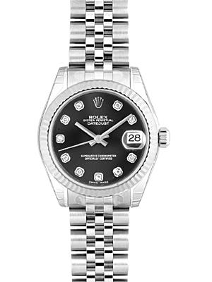 Rolex 178274 G Boys Datejust Black Letter Edition 10 P Diamond
