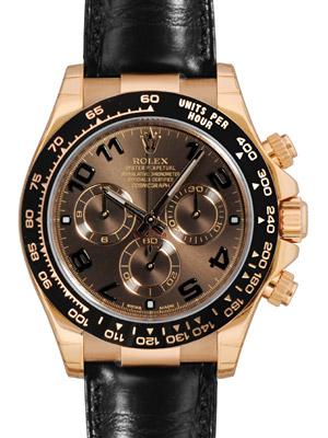 勞力士 116515 LN 宇宙計型迪代托納 K18RG 固體 / 皮革的巧克力棕色錶盤 blackselacrombesel 計時碼表自動上弦