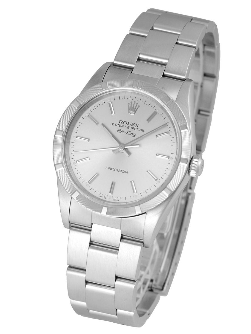 Watch jubilee rolex 14010m men 39 s air king engine turned bezel silver character dial ss f for Jubilee watch