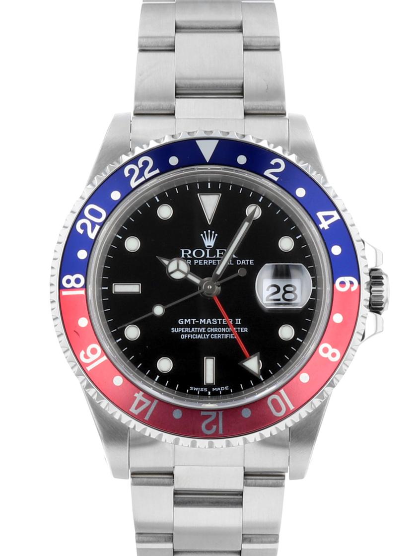 【中古】ロレックス 16710 A品番 GMTマスターII (GMTマスター2) 赤青 (レッド/ブルーベゼル) SSブレス 自動巻き 《オーバーホール済み!》