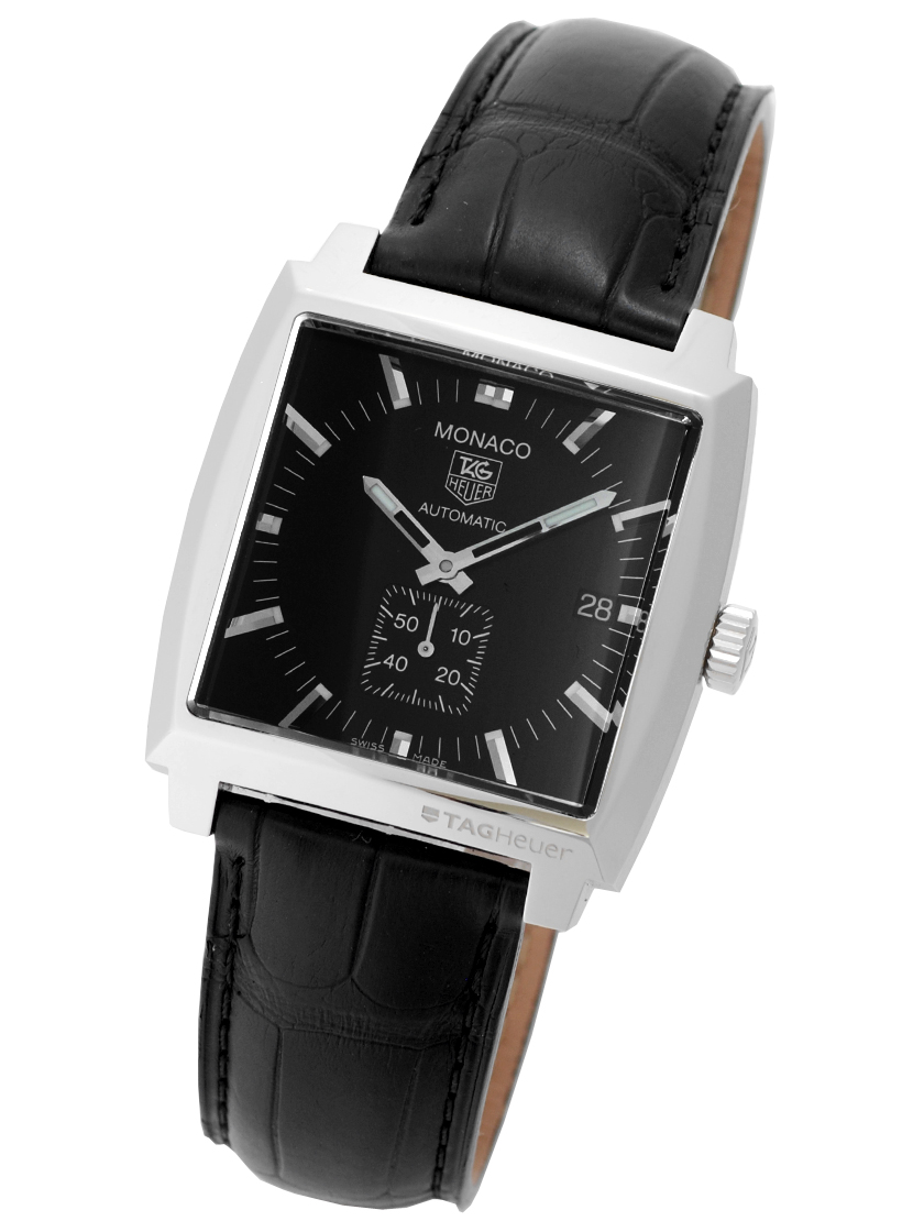 Tag Heuer mens Monaco automatic calibre 6 black letter Edition SS   leather  WW2110. FC6177 57fb14202