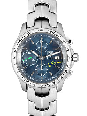 Tag Heuer Link Chronograph Cjf2113 Ba0576 Ayrton Senna Limited Automatic Winding Blue In 2004 And World Book 2004 Limited Edition