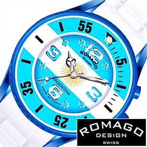 [あす楽]ロマゴデザイン腕時計 ロマゴ時計 ROMAGO DESIGN 腕時計 ロマゴ デザイン 時計 希少限定モデル アルゼンチン メンズ レディース ブルー ホワイト イエロー RM043-0412PL-AR サッカー おしゃれ 国旗 アルビセレステス プレゼント B 冬 入試 受験 成人式 お祝い