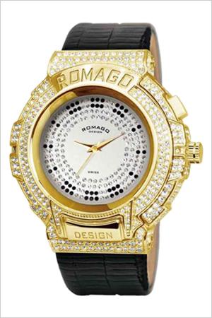 【おひとり様1点限り】ロマゴ腕時計 ROMAGO時計 ROMAGO DESIGN 腕時計 ロマゴ デザイン 時計 トレンド シリーズ Trend series メンズ レディース シルバー RM025-0256ST-GDBK[クリスタル ストーン ミラーウォッチ ブラック ゴールド][入学 就職 祝い プレゼント ギフト]