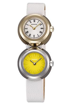 [あす楽]マウジー腕時計 MOUSSY時計 MOUSSY 腕時計 マウジー 時計 マウジー ツイン ケース MOUSSY Twin Case レディース ホワイト イエロー WM0031V1 アナログ 革ベルト シルバー ゴールド 通販 人気 送料無料 プレゼント ギフト 冬 入試 受験 成人式 お祝い