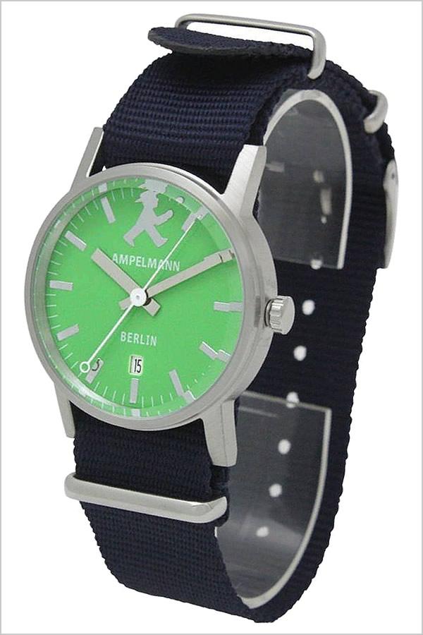 【おひとり様1点限り】アンペルマン腕時計 AMPELMANN時計 AMPELMANN 腕時計 アンペルマン 時計 メンズ レディース ユニセックス 男女兼用 男の子 女の子 キッズ 子供用 グリーン ARI-4976-12[アナログ NATO ベルト 防水 シルバー ブルー ネイビー GO]