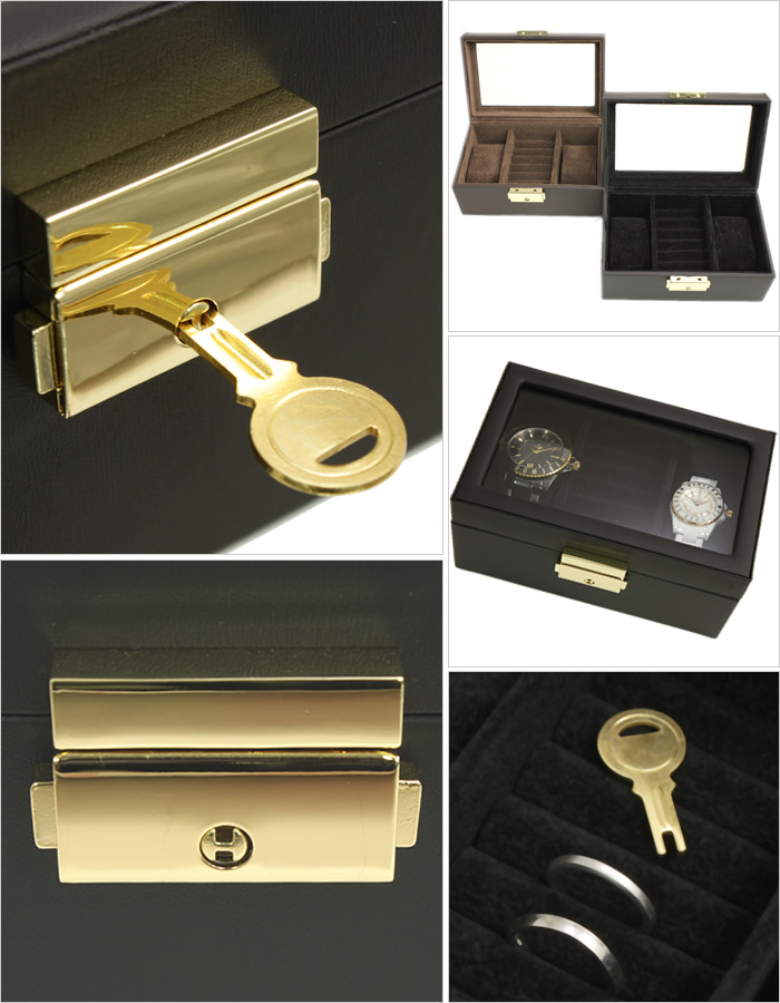 時計ケースディスプレイケースウォッチケース腕時計ケース コレクションケースケース コレクションケース 腕時計ケース 時計ケース ディスプレイケース ウォッチケース ケース W-6000-BR[ペアケース 腕時計ケース 収納ケース レザー 調 木製 鍵付き 2本 用]