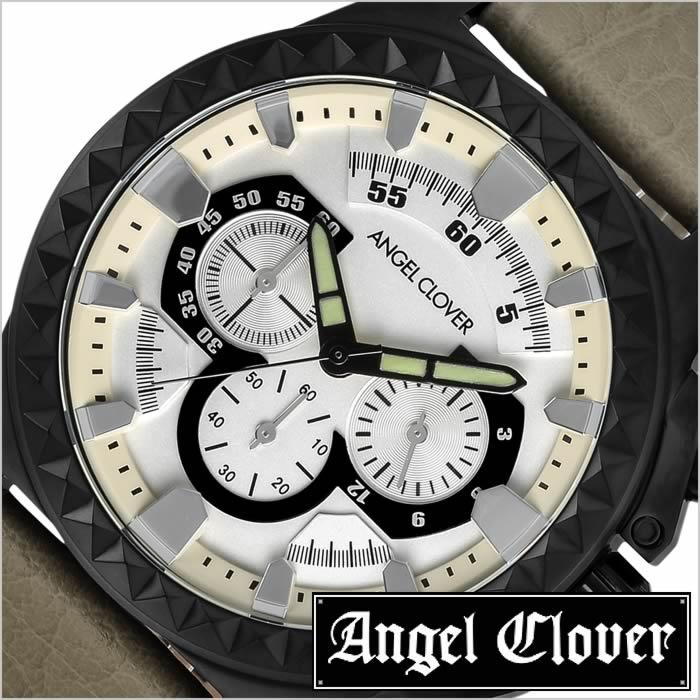エンジェルクローバー 時計 AngelClover 腕時計 ラギッド Rugged Angel Clover 腕時計 エンジェル クローバー 時計 メンズ シルバー RG46BSV-BE 正規品 クロノグラフ おしゃれ 人気 カジュアル レザー ベルト バンド 革 ベージュ 送料無料 プレゼント ギフト 入試 受験