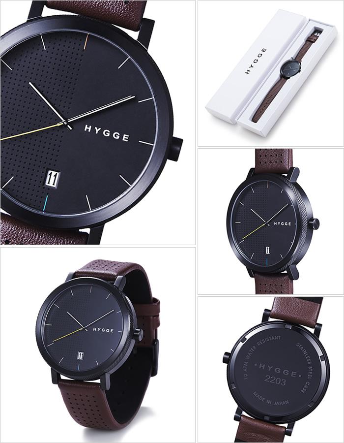 ヒュッゲ 時計 HYGGE 腕時計 2203 メンズ レディース ブラック HGE020063[正規品 北欧 ミニマル シンプル 個性的 インテリア 人気 ブランド プレゼント ギフト 革 レザー ペアウォッチ ユニセックス デザイナーウォッチ ファッション コーデ ブラウン][]