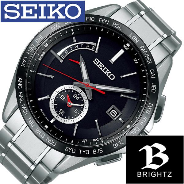 セイコー ブライツ 時計 SEIKO BRIGHTZ 腕時計 メンズ ブラック SAGA241[正規品 ビジネス スーツ 定番 オフィス シンプル 好印象 デザイン プライベート アナログ ラウンド レッド チタン ソーラー 電波時計 プレゼント ギフト][]