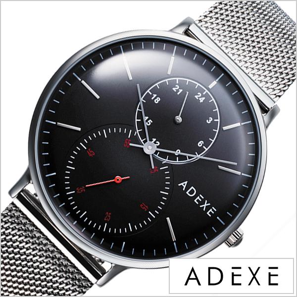 アデクス 腕時計 グランデ ADEXE 時計 GRANDE メンズ ブラック 2045B-06 正規品 人気 ロンドン おしゃれ カジュアル ファッション トレンド SNS シンプル クラシカル ドーム ラウンド ステンレス シルバー プレゼント ギフト 冬 クリスマス Xmas