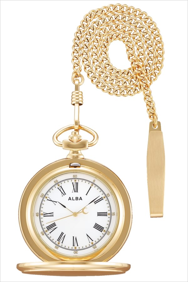 セイコー アルバ ポケットウォッチ 時計 懐中時計 SEIKO ALBA Pocket Watch ユニセックス メンズ レディース AQGK450[正規品 定番 レトロ アンティーク おしゃれ おすすめ ファッション ラウンド ステンレス 月 かわいい ローマ数字 ゴールド プレゼント ギフト]
