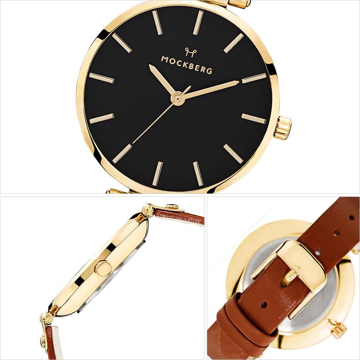 モックバーグ 腕時計 MOCKBERG 時計 オリジナル Originals Ilse Black メンズ レディース ブラック MO114[正規品 人気 ブランド 就活 上品 エレガント クラシック ビジネス スーツ アクセサリー シンプル ラウンド 革 レザー ゴールド ブラウン]