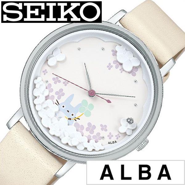 セイコー アルバ 腕時計 SEIKO ALBA 時計 レディース ホワイト ACCK705 [ 正規品 ブランド ラウンド キャラクター ジブリ 記念 トトロ コラボ かわいい 花柄 防水 ホワイト オフホワイト クリーム レザー 革 ギフト プレゼント ]