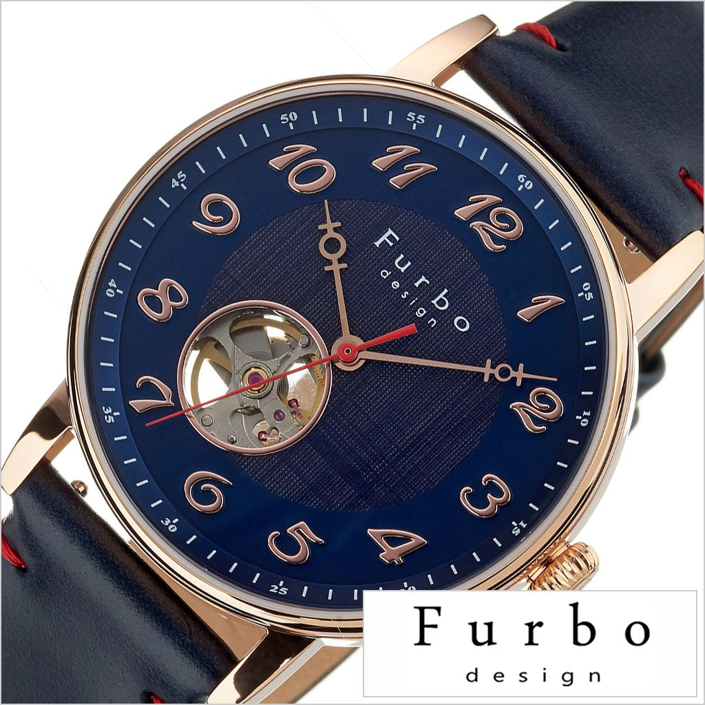 [あす楽]フルボデザイン腕時計 Furbo design時計 メンズ ネイビー F8202PNVNV 正規品 ブランド 防水 レザー スーツ 革 ビジネス カジュアル おしゃれ 機械式 メカニカル スケルトン プレゼント ギフト 冬 入試 受験 成人式 お祝い