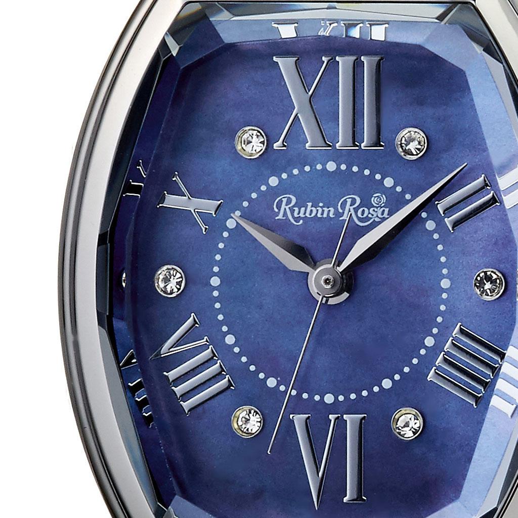 ルビンローザ 腕時計 Rubin Rosa 時計 レディース ブルー R018SOLSBL [ 正規品 ブランド 防水 シルバー ステンレス カジュアル おしゃれ 就活 ソーラー クリスタル トノー 楕円 プレゼント ギフト ][あす楽]