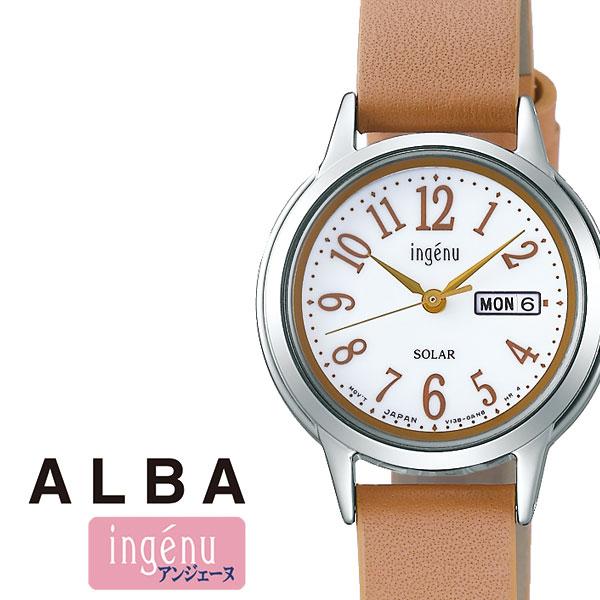 セイコー アルバ アンジェーヌ 時計 ALBA INGENU SEIKO 腕時計 レディース 女性 ホワイト AHJD109 シルバー 革 シンプル 人気 プレゼント ギフト ラウンド かわいい カレンダー ファッション カジュアル ビジネス 冬 入試 受験 成人式 お祝い