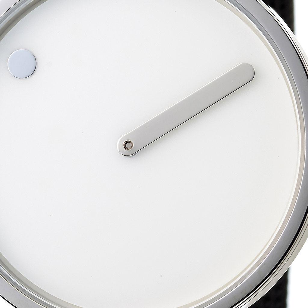 ピクト 時計 PICTO 腕時計 スティールケース アンド ブラックメッシュバンド STEEL CASE & BLACK MESH BAND メンズ ホワイト PIC-43364-1020[個性的 デザイン 人気 お洒落 流行 北欧 シルバー ブランド シンプル アナログ カジュアル ラウンド プレゼント ギフト]