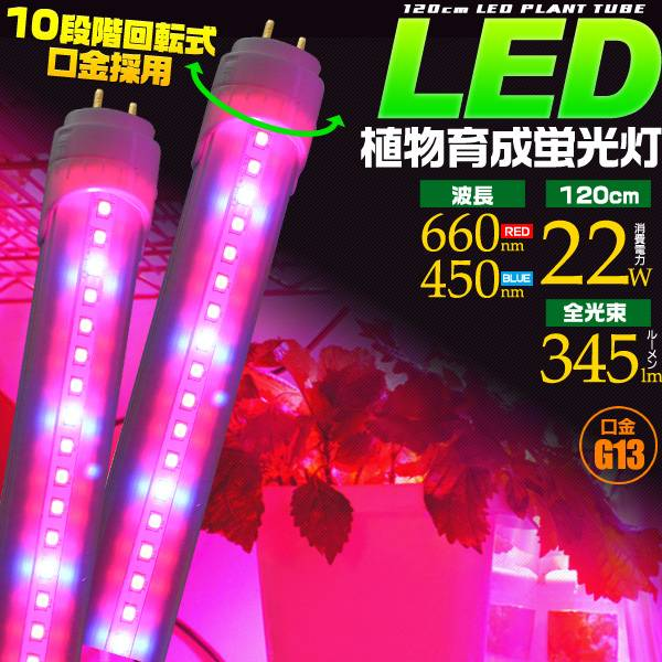 LED plant growth fluorescent light 120 cm 40 W-consumption electric power  22 W base G13 hydroponic cultivation lamp indoor plants and vegetable