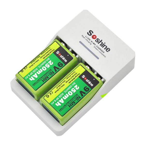 メーカー在庫限り品 送料無料 9Vニッケル充電池が2個付属 9V 006P 角型充電器 バッテリー リチウムイオン充電池 お得 ch021 Li-ion ニッケル水素充電池両方対応 Ni-MH 大容量 角型9Vニッケル充電池が2個付属