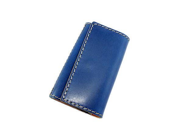 日本製 ハンドメイド 財布 メンズ 栃木レザー キーケース 伝統を守り続けた栃木レザーの革を贅沢に使用 ブルー×キャメル【newyear_d19】 プレゼント お祝い ギフト