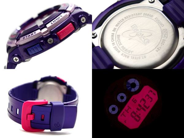 Casio baby G overseas model digital ladies watch champagne pink metal pink liquid metallic purple polyurethane belt BGD-121-6