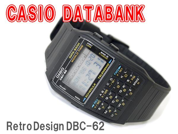 凱西歐資料庫海外模型數位手錶黑色聚氨酯皮帶 DBC-62-1