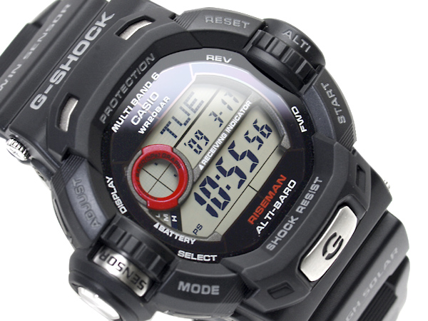 Riesman reimport Casio G shock digital watch tough solar and multi-band 6 with black urethane belt GW-9200-1