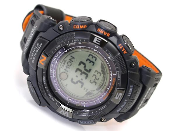 + 與凱西歐保艱難太陽能三重感應器與海外型號數位手錶黑色交叉帶更換帶拉伸 PRG-130 GB-1 V